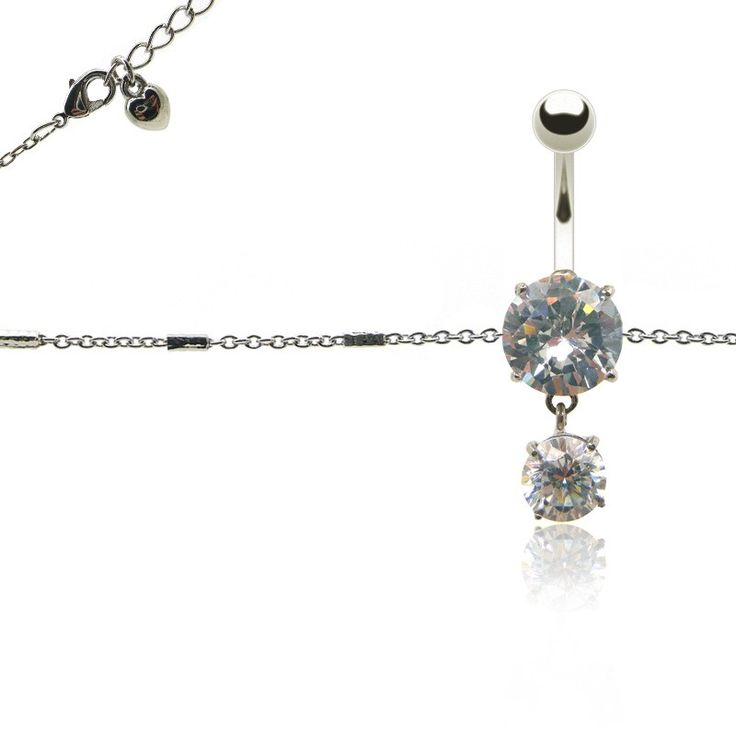 Bijou piercing nombril chaine tour de ventre (fermoir coeur) orné de brillants blancs pendentifs. CBO piercing: Grand choix de bijoux piercing de nombril, piercing nombril or, piercing nombril pendentif, piercing nombril pas cher.