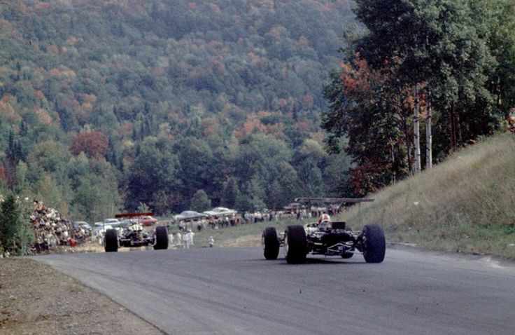 O Meara Ford >> Chris Amon (Ferrari 312) leads Jo Siffert (Lotus 49B Ford), Canadian Grand Prix, Mont-Tremblant ...