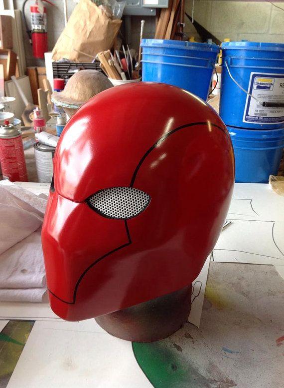 Red Hood Helmet  White Mesh or Mirrored Lens by JDTProductions