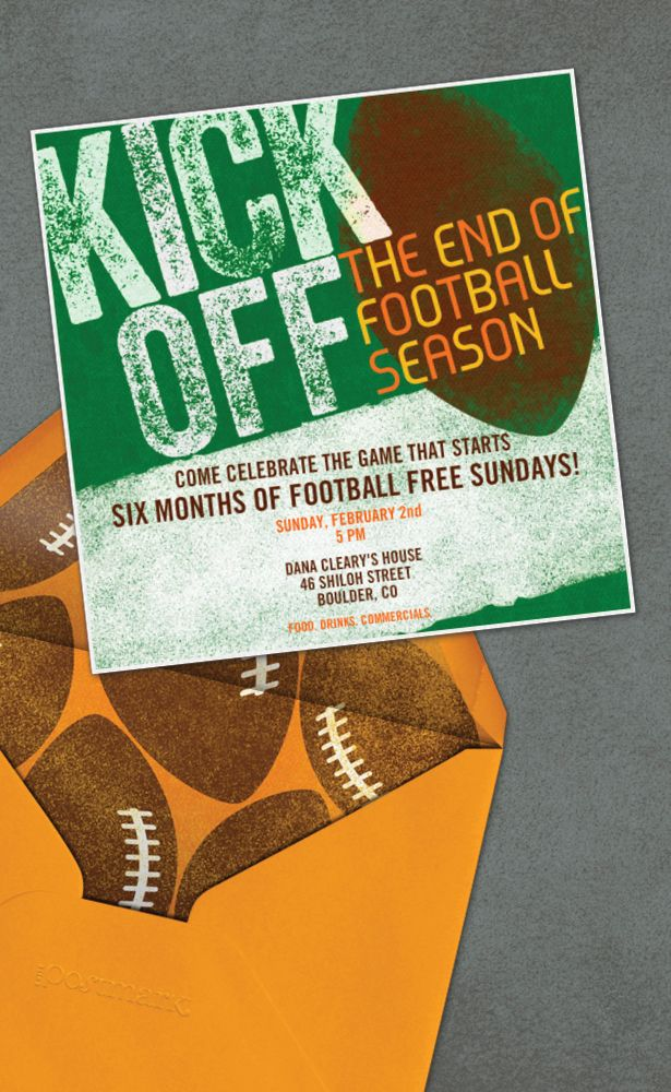 free evite photo invitations%0A Kickoff the End of Football Season with a fun Superbowl Invitation Design  from Evite Postmark