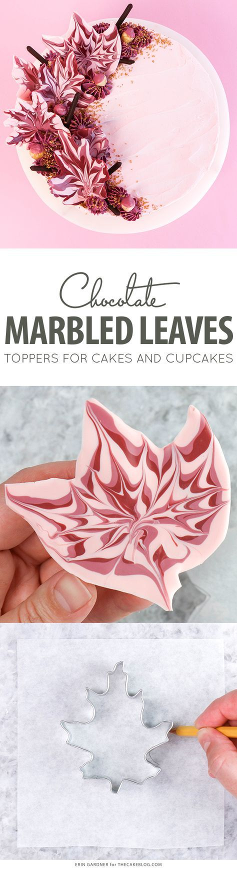 Marbled Chocolate Leaves – how to make marbled leaf toppers for cakes and cupcakes using chocolate coating and cookie cutters | by Erin Gardner for TheCakeBlog.com
