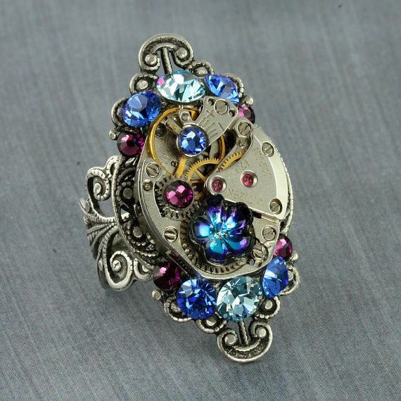 Steampunk Ring Crystal Steampunk Ring by ForTheCrossJewelry