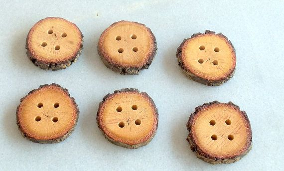 Wood Buttons  Branch Buttons  Handmade Wood Buttons-6 large