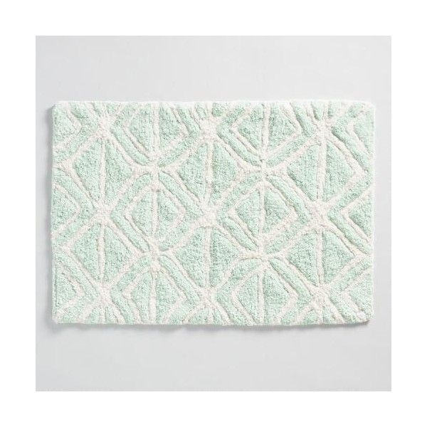 cost plus world market mint and ivory tribal tufted bath mat 17 liked on polyvore featuring home bed u0026 bath bath bath rugs green green bath mat