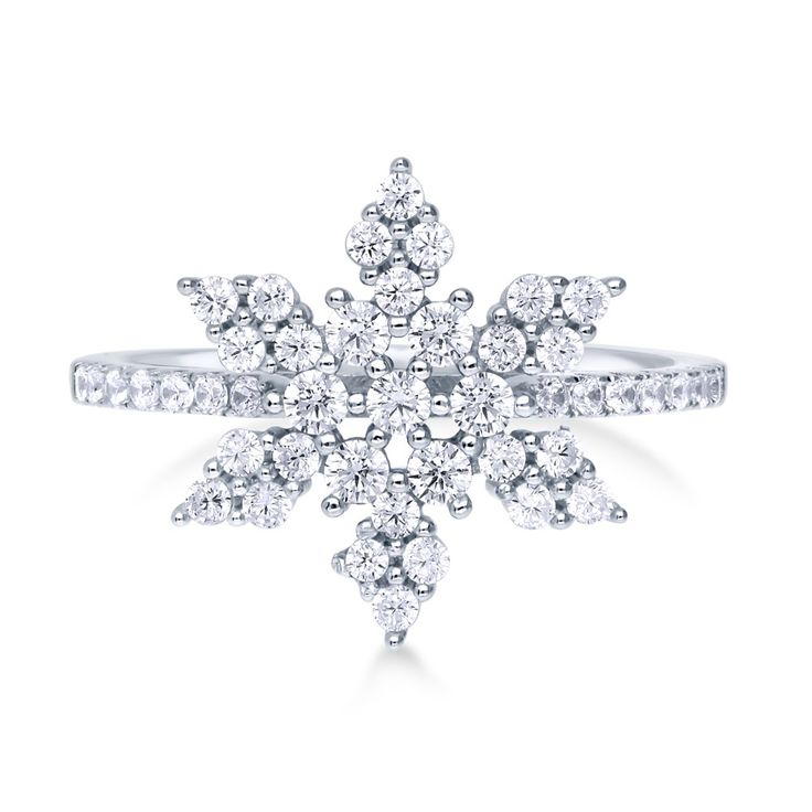 This snowflake ring is a captivating ode to the joyous holiday season. Made of rhodium plated fine 925 sterling silver. Set with 0.71…