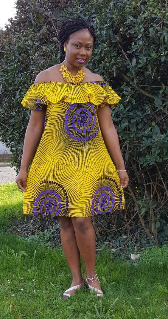 Yellow Off Shoulder Ankara Dres/ African Print Bardot Style