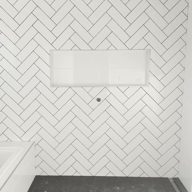 """Main bathroom - herringbone tiles with dark grout ✔️ Sapphire Living Interiors (@sapphire_living) on Instagram: """"Grouting is nearly finished in the main bathroom. When I saw these tiles laid I knew I couldn't do…"""""""