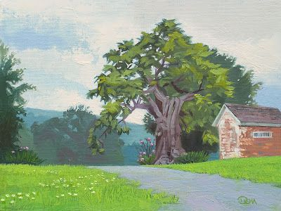 Beautiful painting of the Catawba Tree at the Reynolds Homestead by Don Stewart