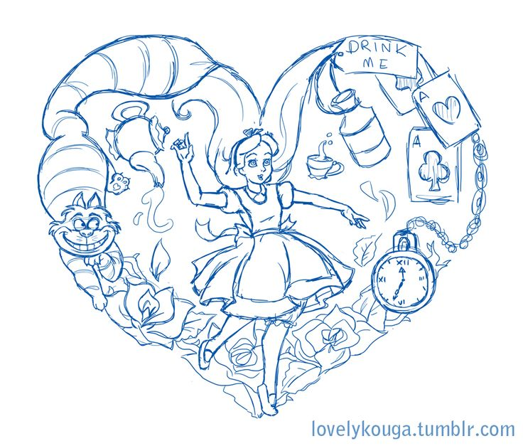 I'm working on an Alice in Wonderland tattoo design for someone…could also make its way onto a Tshirt as well! WIP~