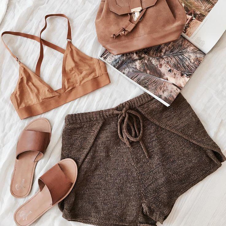 Mocha Knit Shorts   #SaboSkirt  Tones on point for summer