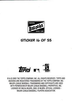 2003 Bazooka - 4-on-1 Stickers #16 Hank Blalock / Brandon Phillips / Hee Seop Choi / Josh Phelps Back