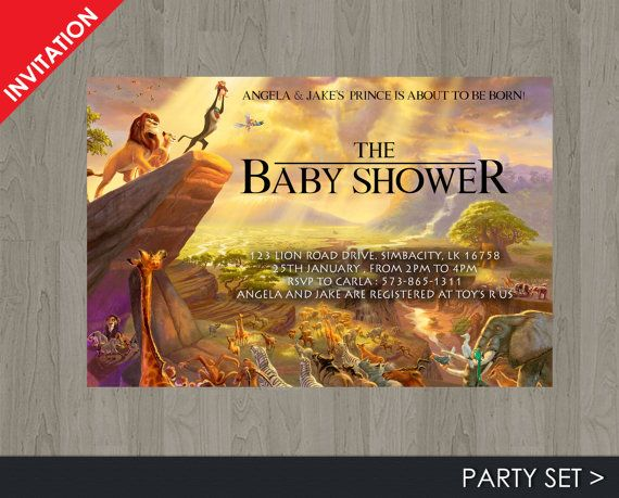Lion King Baby Shower Invitation Jungle by Printadorable on Etsy