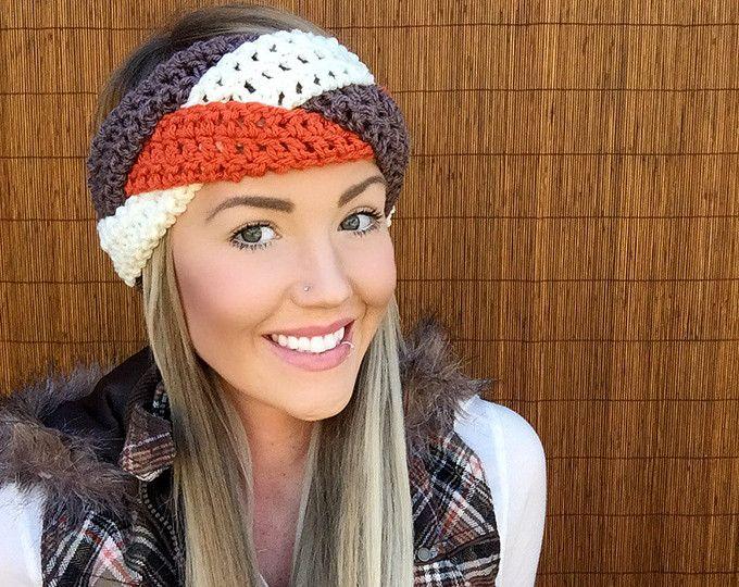 Navy Blue Orange White Denver Headband || Braid Head Hair Accessory Band Earwarmer Football Colorado Fashion Vegan Woman Unisex Men   – Female pictures