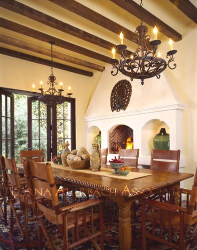 Hacienda Dining - love that ceiling and chandelier!
