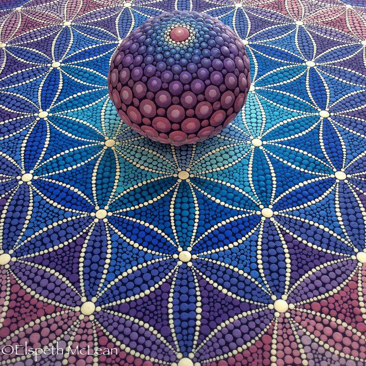 Sacred Geometry mandala stone on Flower of Life Painting by Elspeth Mclean