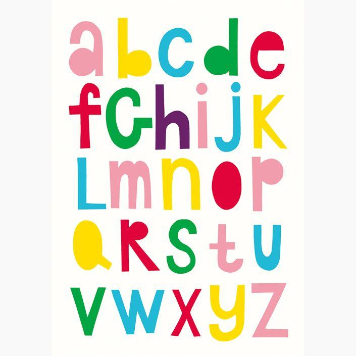 """Alphabet"" in colour poster - Size A3 (unframed) | room to decorate | scandinavian and vintage designed homewares - online shop"