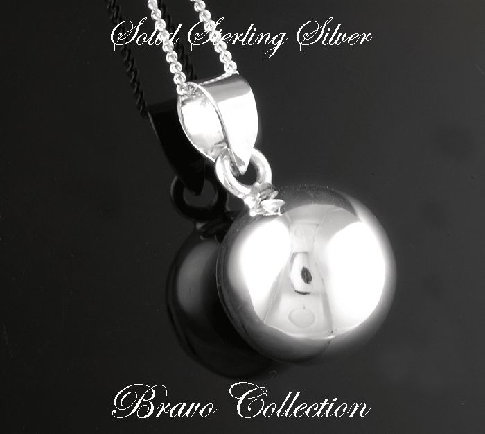 1P-138 Finely Made Solid 925 Sterling Silver Harmony Bell Ball Chain Necklace.