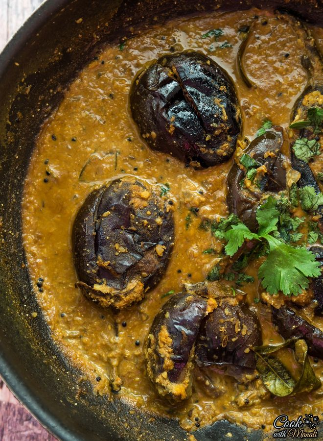 Baghare Baingan - Eggplant Curry With Coconut & Peanuts - Cook With Manali