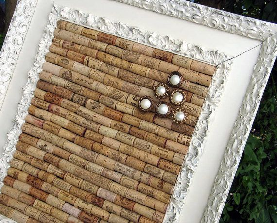 In love with this wine cork bulletin board with antique frame!