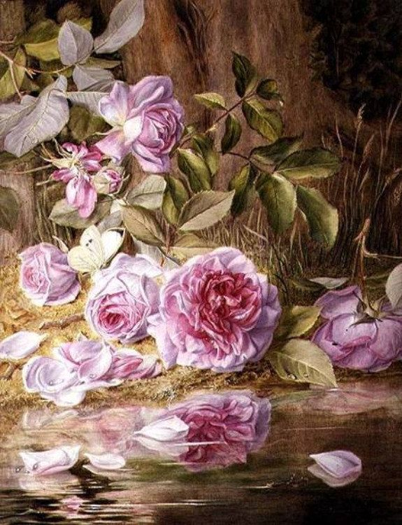 Reflected Roses Cross stitch pattern pdf format by diana70