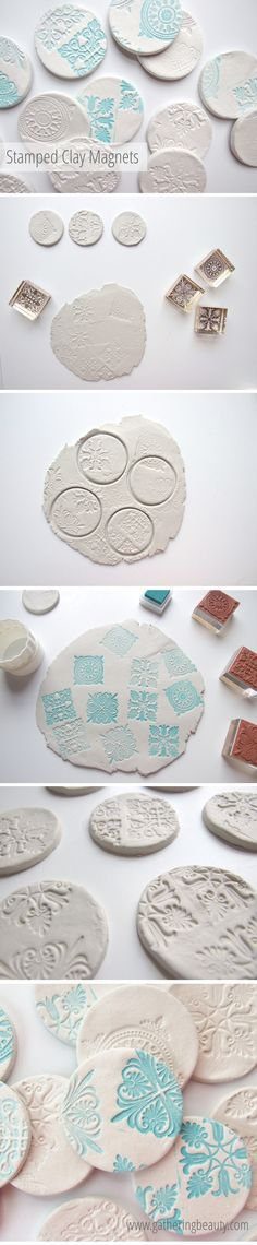 stamped clay magnets made from air drying clay