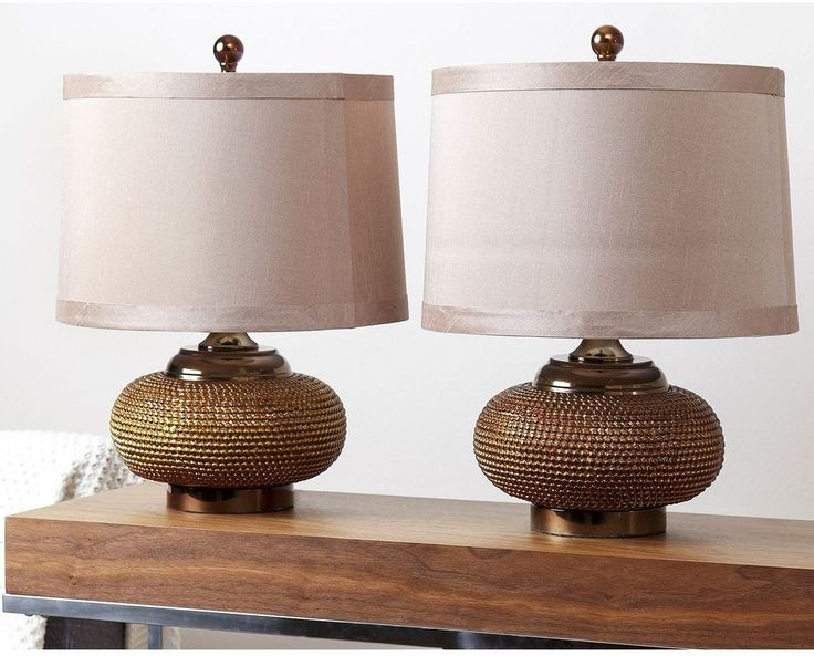 Transitional Beaded Lamp Gold Resin 1 Light Ivory Fabric Cotton Shade 2 Set New #ABBYSONLIVING #Transitional #Lamp #TableLamp #Lighting #Decoration