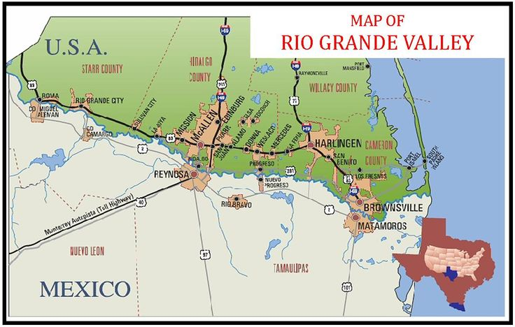 Map of the RGV The only town missing is Rio Hondo east of