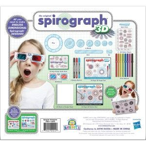 Kahootz: Spirograph 3D Kit Take your whirling spiro-tastic designs to a new dimension with the Spirograph 3D Kit from Kahootz. http://awsomegadgetsandtoysforgirlsandboys.com/kahootz/ Kahootz: Spirograph 3D Kit