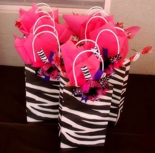 Zebra and hot pink work so well together! Swag Bags for Rockstar Party