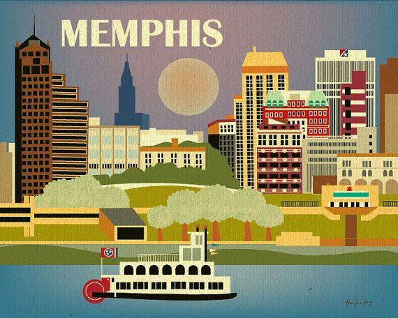 Memphis tn design print memphis art tennessee travel for Creative home designs memphis tn
