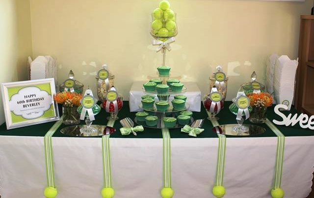 Tennis themed lolly buffet  http://thecompletekidsparty.com.au/lolly-buffet-packaging-and-pricing.html