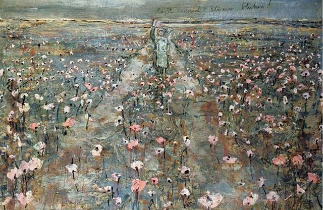"""Laßt tausend Blumen blühen!""(Medium: oil, shellac, acrylic and emulsion on photo on canvas) by Anselm Kiefer"