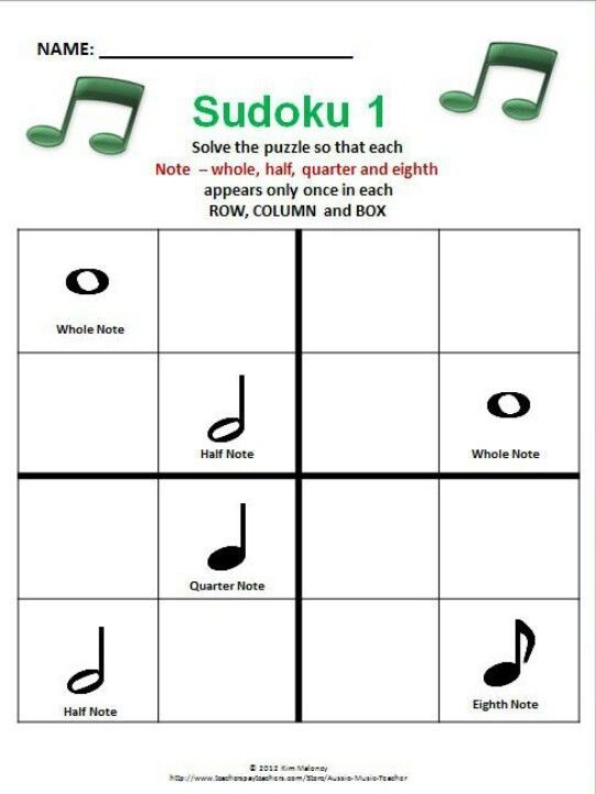 Music Games/Puzzles! Music Sudoku for young musicians!  ♫ CLICK through to preview or save for later!  ♫