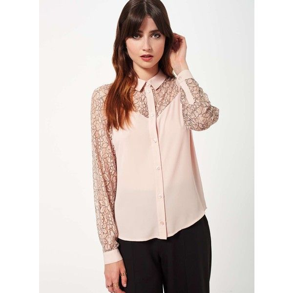 Miss Selfridge Nude Lace Insert Shirt (7150 RSD) ❤ liked on Polyvore featuring tops, nude, nude shirt, miss selfridge tops, miss selfridge, lace insert top and pink shirts