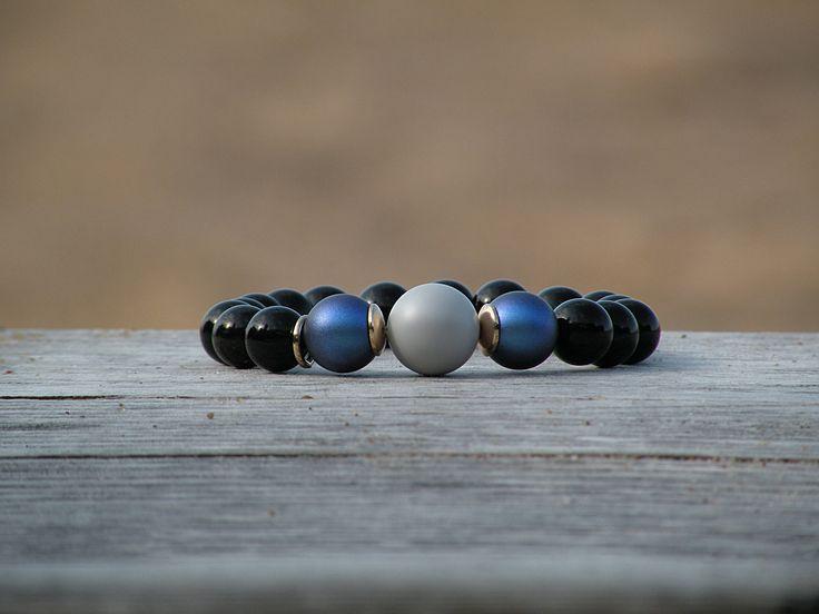 Black onyx bbracelet • Swarovski pearl •  Gemstone bracelet • Beaded bracelet • 24 K gold bracelet • Womens Bead Bracelet • Stone Bracelet by BluebellebyPaula on Etsy