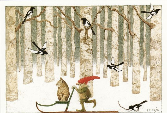 sleigh ride: Cats, Lennart Helje, Winter, Fairies, Illustrations, Christmas, Gnomes, Elves
