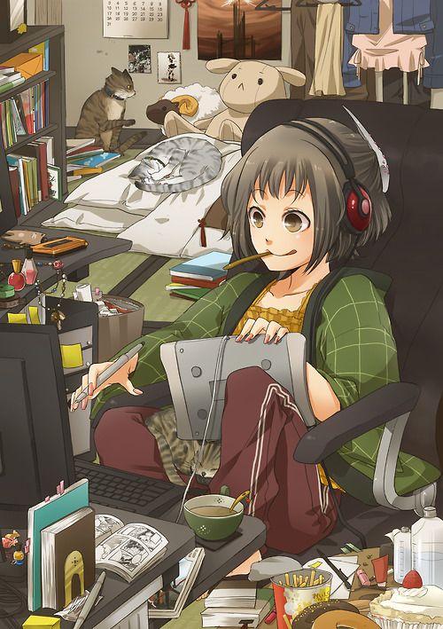 ✮ ANIME ART ✮ nerd. . .otaku. . .computer. . .tablet. ..headphones. . .books. . .comics. . .messy room. . .cats. . .cute. . .kawaii