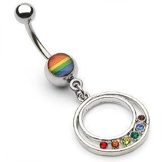 Navlepiercing med Cirkelvedhæng i Pride Farver 39 kr
