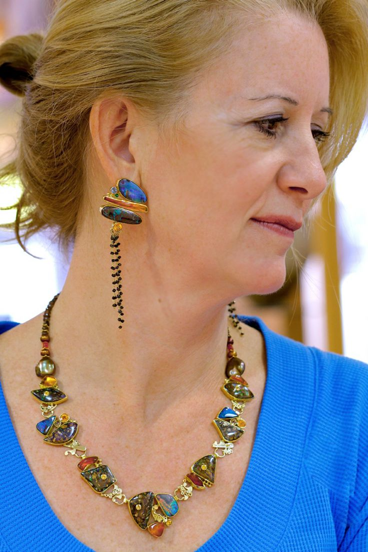 """""""Over the The Moon"""" Yowah and Boulder Opal Necklace with mexican opal, spessartites, topaz, in 22k and 18k gold. Earrings: Boulder opal, mexican opal with black diamonds in 22k and 18k gold. By Jennifer Kalled; Boulder opals from Bill Kasso"""