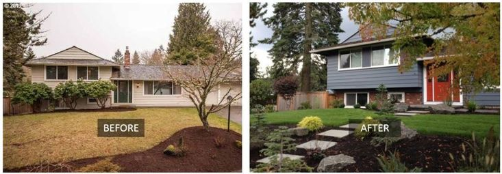 Before and after home curb appeal transformation with Slimbrick tile