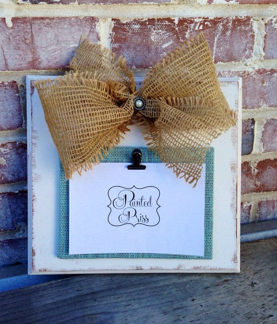 Cream Distressed Frame with Burlap Bow by PaintedPriss on Etsy, $17.00