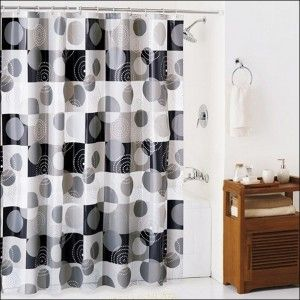 Exotic And Modern Black And White Shower Curtain & Simple Small Wooden Cabinet & White Bath Tub With Wall Shower And Faucet