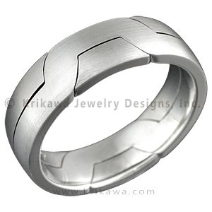 "Two Tone Modern Puzzle Ring - The Modern Puzzle Ring is similar to the Mokume Puzzle Ring.   The two rings interlock for an unusual and modern take on a man's wedding ring. 7mm wide.    - This interlocking wedding ring features palladium (light cool gray) and 14k high palladium white gold (medium gray), which offers a very elegant contrast of colors between two ""white"" metals. BC WE FIT TOGETHER LIKE TWO PUZZLE PIECES AWWWW BUT OOH WHAT IF IT WERE TWO TONED"
