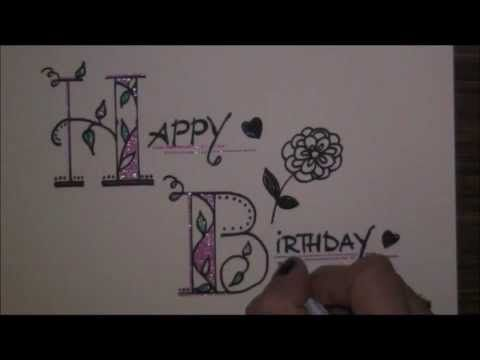 how to write happy birthday in cursive