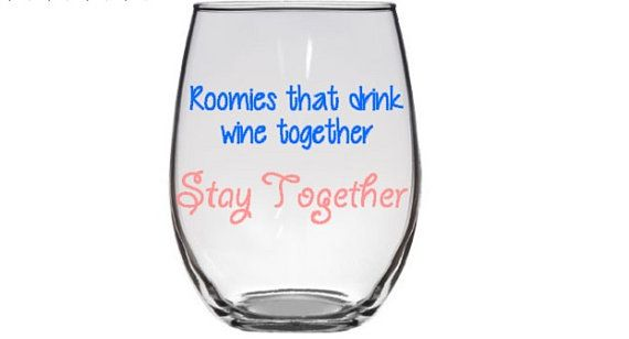 3 Personalized Wine Glasses, Roommate Gift, Roomies Gift, College Wine Glass, College Roommate Gift, Set of 3