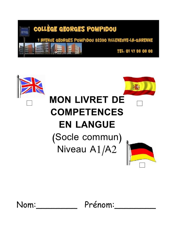 Mon livret de compétences en langue ! Niveau A1-A2  épinglé par Julien PASTRE  via Slideshare et créé par laurence Charlet http://lewebpedagogique.com/espamarlioz73/