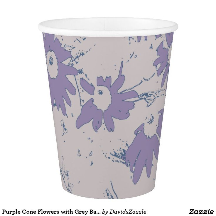Purple Cone Flowers with Grey Background Paper Cup  Available on more products, type in the name of this design in the search bar on my products page to view them all!  #cone #daisy #shasta #calendula #floral #flower #purple #grey #blue #pattern #print #all #over #abstract #plant #nature #earth #life #style #lifestyle #chic #modern #contemporary #home #decor #kitchen #dining