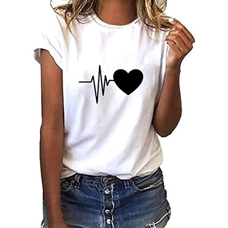 Mode Damen Loose Kurzarm Fit T-Shirt Shirt Sommer Wimpern Lippen Drucken Tops