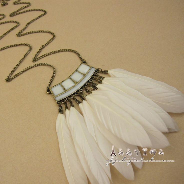 Купить товарВинтажный белый перо ожерелье кулон ювелирные изделия женское аксессуары ожерелье в категории Массивные ожерельяна AliExpress.                                                                                             Мы принимаем Alipay зд