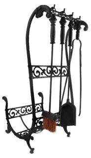 "33"" Cast Iron Fireplace Tools & Log Rack"